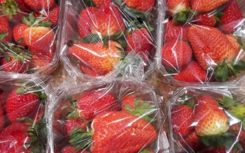 Erdbeeren in Verpackung